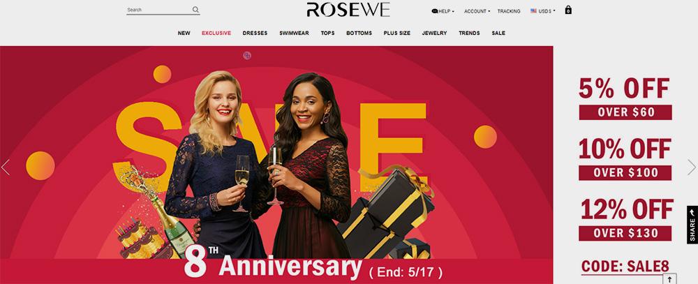 rosewe tienda china de ropa